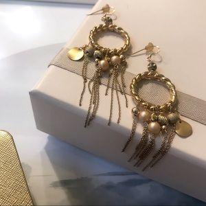 Gold Tone Dangling Chain Bead Rope Circle Earrings